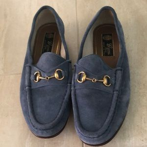 Gucci Shoes - Gucci Blue Suede Loafers 36
